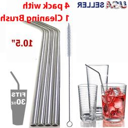 """10.5"""" Long Reusable Straws Stainless Steel Drinking Metal fo"""