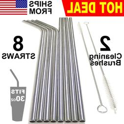 """10.5"""" Reusable Stainless Steel Drinking Straws Metal for 30"""