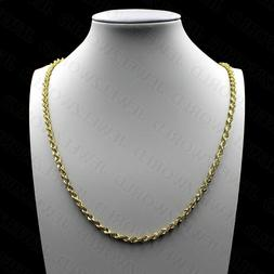 """10K Solid Yellow Gold Necklace Gold Rope Chain 2.5mm 16"""" 18"""""""