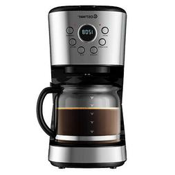 12-Cup Programmable Coffee Maker Brew Machine LCD Display w/