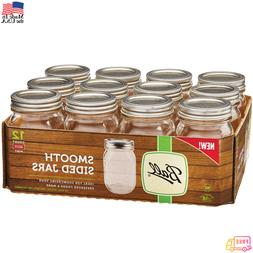 12 PACK 16 oz Smooth Glass Mason Pint Jars with Lids and Ban