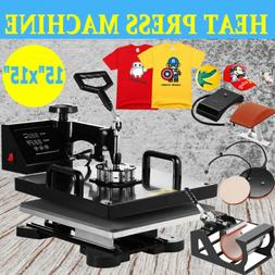 "15""x15"" 5in1 T-Shirt Heat Press Machine Transfer Sublimation"