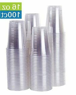 16 oz Clear Plastic Party Cups - 100 Count