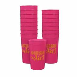 16-Pack Plastic Bride Tribe Party Cups Hot Pink Bachelorette