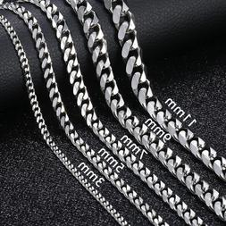 "18""-36"" Stainless Steel Silver Tone Chain Cuban Curb Mens Ne"