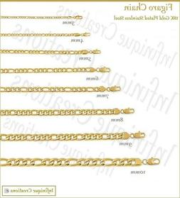 18K Gold Plated Stainless Steel Figaro Chain Necklace Bracel
