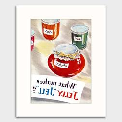 """1950s Kitchen Wall Art w/Mat  """"What Makes Jelly Jell"""""""