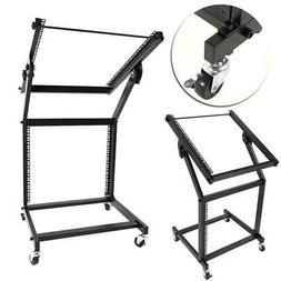 19U DJ Universal Mixer Studio Rack Stand with Wheels Black H