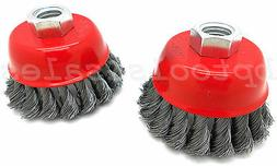 """3"""" Knot-Type Fine Wire Cup Brush Wheel 5/8"""" Arbor Fits 4-"""