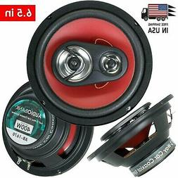"2) Audiobank 6.5"" 400 Watt 4-Way Red Car Audio Stereo Coaxia"