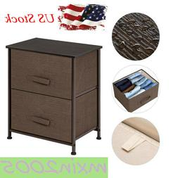 2 Drawers Night Stand End Table Storage Tower Sturdy Steel F