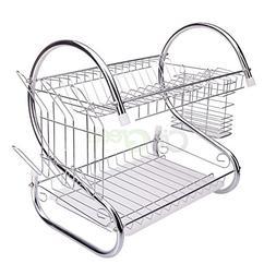 2 Tiers Kitchen Dish Cup Drying Rack Drainer Dryer  Cultery