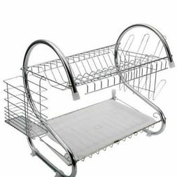2 Tiers Kitchen Storage Drying Rack Drainer Dryer Tray Dish