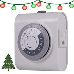 2-Outlet 24-Hour Indoor Heavy Duty On/Off Timer, White GE Ti