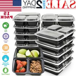 15 Pack Meal Prep Containers 3 Compartment  Food StorageReus