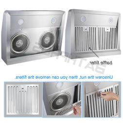800CFM Dual Fan Oil Cup LED Touch Under Cabinet 30'' Stainle