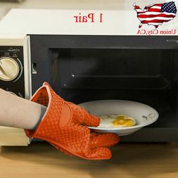2pcs Barbecue Heat Resistant Silicone Gloves Oven Kitchen Gr