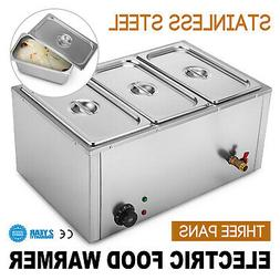 3-Pan Food Warmer Steam Table Steamer 3 Pots Large Capacity