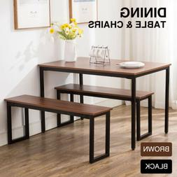 3-Piece Wood Dining Table Set With Two Bench Chair Kitchen F