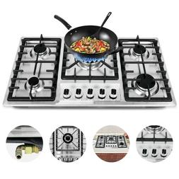 """33.8"""" 5 Burners Built-In Stove Top Gas Cooktop Kitchen Easy"""