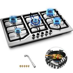 """33.8"""" 5 Burners LNG/LPG Gas Cooktops Cooker Durability Gas C"""
