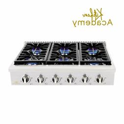 Kitchen Academy 36''Stainless Steel Gas Cooktop Rangetop wit