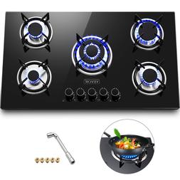 """36"""" Tempered Glass Gas Cooktop 5 Burners Kitchen Cooktop Bla"""