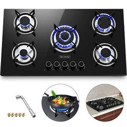 """36"""" Tempered Glass Gas Cooktop 5 Burners Kitchen Cooktop Ele"""