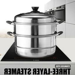 3Tier Stainless Steel Steamer Hot Pot Steam Vegetable Kitche