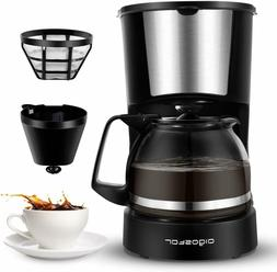 4 Cup Small Coffee Maker with Coffee Filter and Glass Carafe