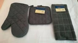 4 Piece set of Pot holders and oven mitts - Slate Gray