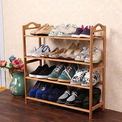 Amashion 4 Tiers 20 Pairs Shoe Rack with Natural Bamboo,Heal