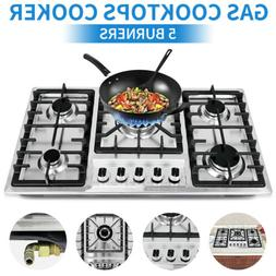 5 Burners Built-In Stove Top Gas Cooktop Kitchen Easy to Cle