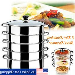 5 Tiers Stainless Steel Steamer Pot Induction Compatible Coo
