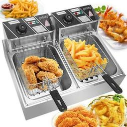 5000W 12 L Electric Deep Fryer Portable Dual Tank Basket Com