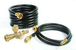 Camco Propane Brass 4 Port Tee- Comes with 5ft and 12ft Hose