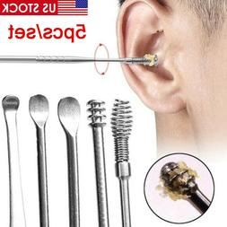 5pcs Ear Wax Pick Cleaner Remover Tool Curette Ear Spoon Ind