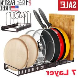 7 Layer Expandable Pots Pans Organizer Rack for Cabinet Hold