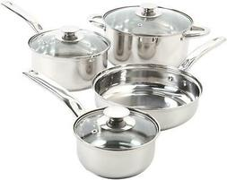 7-Pc Stainless Steel Cookware Set Kit Nonstick Cooking Pots