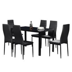 7 Piece Glass Dining Table Set 6 Leather Chairs Kitchen Room