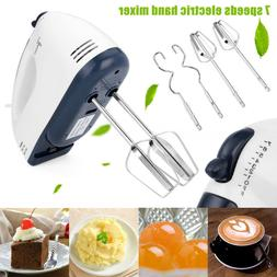 7 Speed Electric Hand Mixer Egg Cake Baking Beater Dough Whi