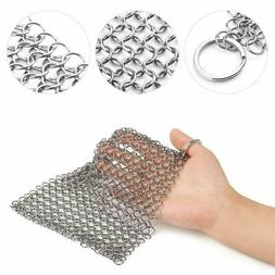 """8""""x6"""" Stainless Steel Cast Iron Cleaner Chainmail Scrubber D"""