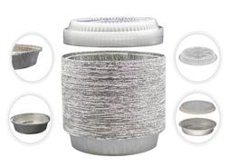 MontoPack 9Inch Round Tin Foil Pans with Clear Plastic Lid