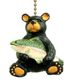 Black Bear with Bass Lodge Cabin Ceiling Fan Pull Lamp Ornam