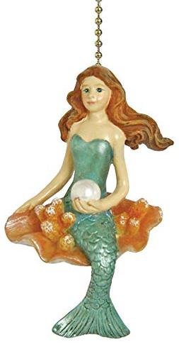 Coastal Mermaid Siren of the Sea Ceiling Fan Light Pull Chai