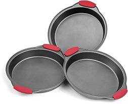 Elite Bakeware 3 Piece NonStick Cake Pans Set with Silicone