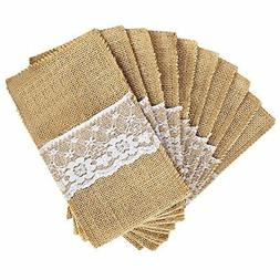 OurWarm 4 x 8 Inch Natural Burlap Lace Utensil Cutlery Holde