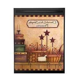 Primitive Country Charm Dishwasher Magnet Cover, Brown