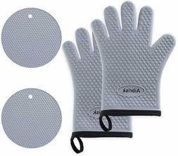 Aibrisk Silicone Oven Mitts and Pot Holders,4PCS Thicken Hea