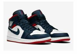 Nike Air Jordan 1 Mid SE USA Olympic White Navy Blue Red 852
